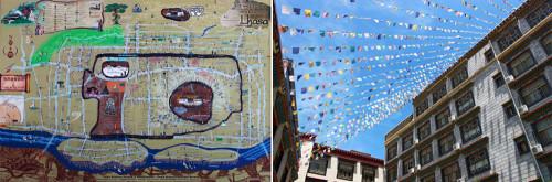 左)ホテルロビーにあった市内略図 右)ホテルの中庭にはタルチョ(五色の祈祷旗)がはためいている